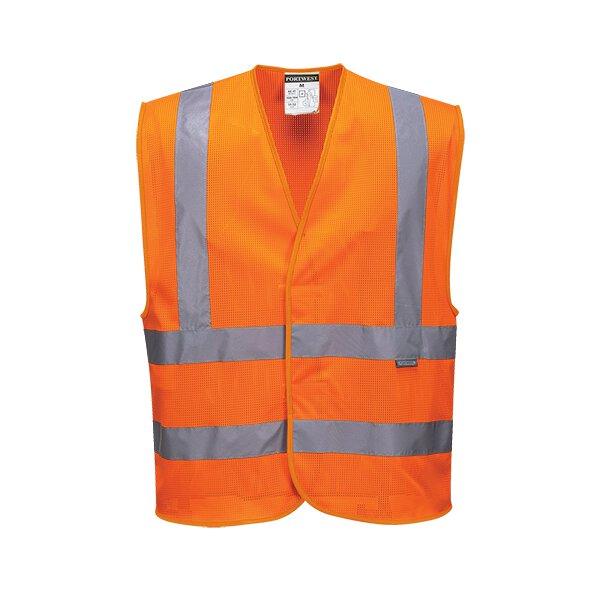 Warnschutzweste mit Schulterband und doppeltem Bauchband